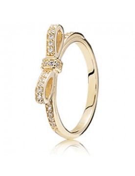 Pandora Christmas Discount 14k Sparkling Bow Ring Clear Cz