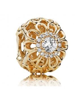 Pandora 14k Gold Heart Clip 14k Floral Brilliance